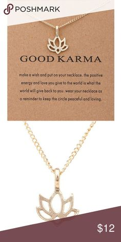 """Good Karma lotus necklace! Brand new with tag """"good karma"""" necklace. Great gift idea. Inpirational reminder. Offers welcome!! Bundle for best deals!! Costume Jewelry Jewelry Necklaces"""
