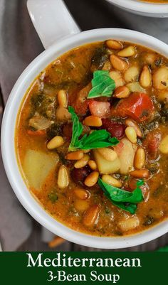 Mediterranean Bean Soup with Tomato Pesto. #soup #recipes #healthyliving