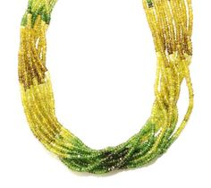"""1 Strand Natural Green Tourmaline Rondelle Faceted 3mm Gemstone Beads 15"""" Long"""