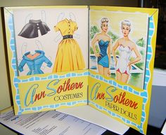 Ann Southern 1954 paper dolls - they were fashioned on her hit TV series Private Secretary which I adored. My 'Hollywood ladies' paper dolls used to make movies together in my bedroom!