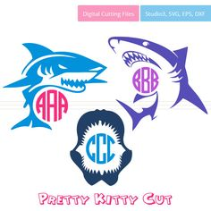 Shark SVG Monogram Frames instant download cut by PrettyKittyCut