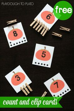 FREE Pumpkin Count and Clip Cards. What a fun way to practice number recognition, counting, one-to-one-correspondence. Perfect fall activity for preschool and kindergarten kids in a farm or pumpkin unit! Autumn Activities For Kids, Fall Preschool, Halloween Activities, Kindergarten Activities, Preschool Activities, Number Activities, Preschool Halloween, Montessori Math, Math Literacy