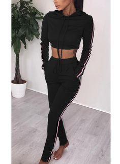 69c55e81054ac6 Women Two Pieces Hoody Crop Top Pencil Pants Striped Slim Sports Casual  Tracksuits