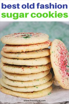 Best Old Fashion Sugar Cookies Ever Image by Jill (This Old Gal) Old Fashioned Sugar Cookie Recipe, Drop Sugar Cookie Recipe, Drop Sugar Cookies, Butter Sugar Cookies, Easy Cookie Recipes, Dessert Recipes, Yummy Recipes, Cookie Ideas, Cookie Desserts