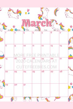 Cute March Calendar 2020 154 Best   2020 Calendar Free Printable Monthly Planner images