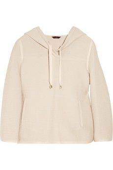 Mulberry hooded waffle-knit cotton-blend sweater
