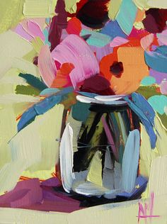 Zinnias In Vase No. 6 Original Still Life Floral Oil Painting By Angela Moulton…