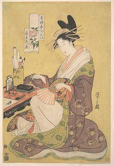 Portrait of Kasen of Ogiya, a Celebrated Yoshiwara Beauty Chôbunsai Eishi (Japanese, 1756–1829) Period: Edo period (1615–1868) Date: ca. 1794 Culture: Japan Medium: Polychrome woodblock print; ink and color on paper