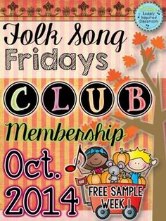 Folk Song Fridays Club Membership - October 2014 Week 1 FREE SAMPLE! The Folk Song Fridays Club Membership was created as a fun way to build up your folk song collection and get practical ideas for teaching these songs. When I look through folk song books, I am not always immediately inspired about how to use them in my classroom. Hopefully this will give you some new songs, games, and visuals for your collection, as well as help you figure out how and why you should teach them. #kodaly