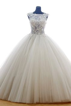 Princess Jewel Court Train Organza Wedding Dress Applique