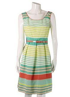Tiana B Striped Pleated Dress