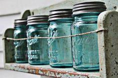 Rustic Display Shelves- the Well-Cooked Life Vintage Mason Jars, Blue Mason Jars, Vintage Bottles, Ball Canning Jars, Ball Jars, Rustic Shelves, Display Shelves, Open Shelves, Bottles And Jars
