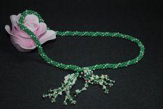 Cacholong green necklace. Beaded Tassel. Sweet choker. by NioNia