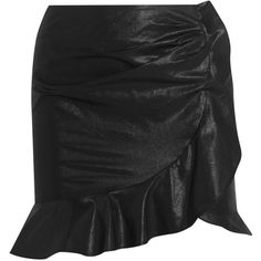 Isabel Marant Luna ruffled cotton and linen-blend skirt (£340) via Polyvore featuring skirts, black, frilly skirt, isabel marant skirt, flouncy skirt, frill skirt and frilled skirt