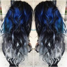 Blue and Silver Ombre Colorful Indian Remy Clip in Hair Extensions - - Blue and Silver Ombre Hair Color Extensions for Black hair girl~ Amazing new look~ Vpfashion new hair style come~ - - Ombre Hair Color, Cool Hair Color, Hair Colors, Blue Ombre, Ombre Style, Balayage Color, Unique Hair Color, Vivid Hair Color, White Ombre