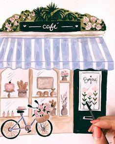 Paris Illustration, Watercolor Illustration, Watercolor Paintings, Art Paintings, Watercolour, Gouache Painting, Painting & Drawing, Watercolor Architecture, Cafe Art