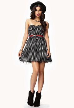 Tulle-Lined Polka Dot Dress | FOREVER 21 - 2038637459