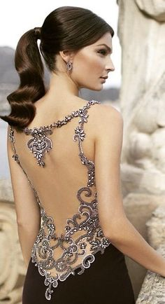 #fall #homecoming #dresses | Embellished Back Gown
