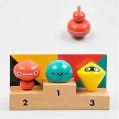 PA Design Olympiad trio of wooden Spinning Tops