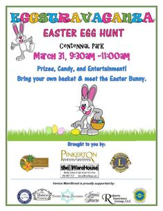 For Easter fun with the whole family, head to Eggstravaganza in downtown Venice on March 31. Beginning is at 9:30 a.m.  Centennial Park in historic Downtown Venice is the place to be for free Easter egg hunts divided by age group, along with entertainment and photo options with the Easter Bunny himself, who will make a guest appearance to entertain the children.   #easter #easteregghunt #family #Florida #HolidayInVenice #VacationInVenice #VacationSoup #Venice #whatson