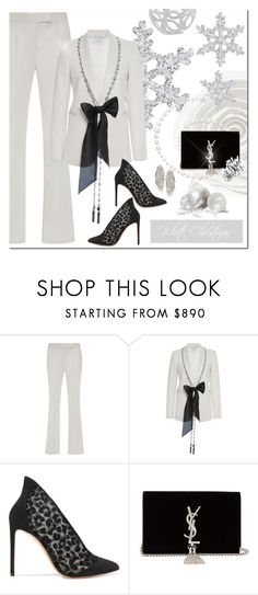 """White Christmas"" by jacque-reid ❤ liked on Polyvore featuring Marchesa, Francesco Russo and Yves Saint Laurent"