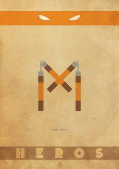 Posters minimalistas das Tartarugas Ninjas 3