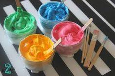 Αποτέλεσμα εικόνας για χειροτεχνια αφρος ξυρισματοσ κολλα και χρωμα Icing, Desserts, Food, Tailgate Desserts, Deserts, Essen, Postres, Meals, Dessert