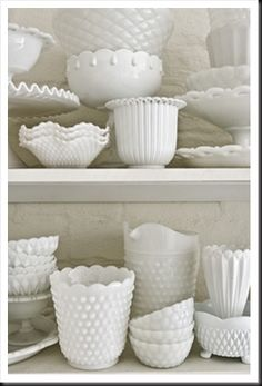 Hobnail Milk Glass.  Hobnail glassware gets its name from the studs, or round projections, on the surface of the glass. These studs were thought to resemble the impressions made by hobnails, a type of large-headed nail used in bootmaking.  Fenton Art Glass introduced Hobnail Glass in translucent colors in 1939 & Milk Glass Hobnail in 1950