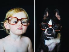 """Putting a new spin on the """"who wore it better?"""" concept, photographer Jesse Holland captures her daughter and #dog posing identically in a series of fun lookalike portraits. #photography"""