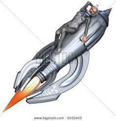 Stock photo : Silver Pin-up Girl Riding On A Retro Rocket