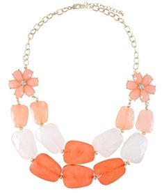 Such a fun statement necklace! | Coral Flower Stone Necklace | $14 | jewelboxonline.com
