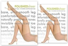 Hue POLISHED Sheer Control Top Inv Toe Pantyhose
