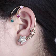 # Multicolored Ear Cuff Set Rhinestone Wrap Earrings