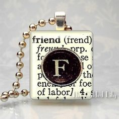 FRIEND - Dictionary Definition with Typewriter Key Letter - Scrabble