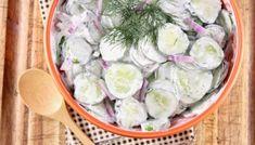 Creamy Dill Potato Salad Creamy Cucumber Tomato Salad, Potato Salad Dill, Dill Potatoes, Creamy Coleslaw, Creamy Cucumbers, Fried Chicken Strips, Grilled Chicken Tenders, Tzatziki, Roasted Garlic Dressing