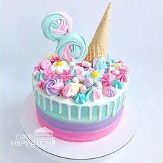 Fondant Cupcakes, Baking Cupcakes, Cupcake Cakes, Pretty Cakes, Cute Cakes, Bolo Cake, Birthday Cake Girls, Bright Birthday Cakes, 50th Birthday