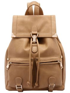 Shop Khaki Buckle Metal Embellished Backpack online. SheIn offers Khaki Buckle Metal Embellished Backpack & more to fit your fashionable needs.