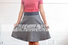 this half circle tutorial with a yoga waistband is an easy sewing tutorial that you will love to wear. Make in a variety of fabrics.