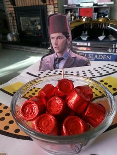 TEN IN A FEZ! Holiday Rolos look like a fez. Doctor Who Party idea