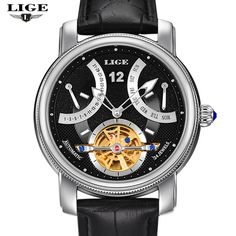US $65.99 - LIGE Man watch Luxury Brand Fashion Casual Tourbillon clock Men Gold Wristwatches automatic Mechanical Watch 5 Color Stylish