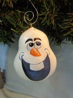 Olaf, painted gourd ornament by Debbie Easley #olafornament#paintedgourd#gourdart