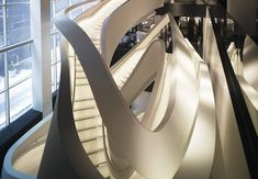 The staircase at Giorgio Armani's new flagship on Fifth Avenue, New York