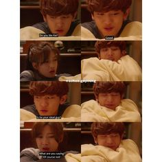 EXO next door EP13 - look how happy Chan looks after Yeonhee answered his questions and told him that Kai isn't her ideal type :D ...