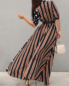 maxi dresses with sleeves Trend Fashion, Boho Fashion, Fashion Outfits, Fashion Top, High Fashion, Maxi Dress With Slit, Dresses With Sleeves, Curvy Women Fashion, Womens Fashion