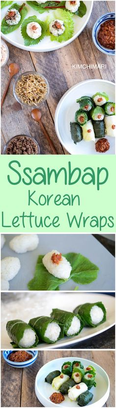 Ssam or ssambap are Korean lettuce wraps, wrapped in greens like perilla, kale and cabbage leaves with surprise fillings inside made of beef, myulchi or tuna. Great for lunch boxes and for parties as appetizers or a side dish.