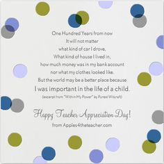 Teacher Appreciation Poem, Teacher Appreciation Quote, Inspirational Quote for Teachers.