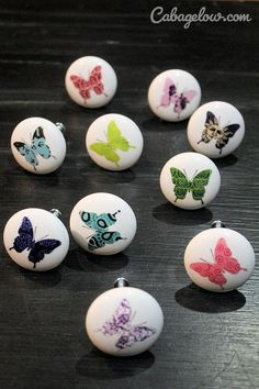 Butterfly knobs by Carolina Hardware designed by Victoria Lynn Hall. The Cabbage Blog: Half Wall Living Room Makeover