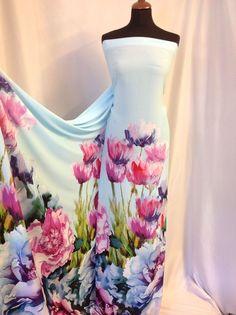 NEW Beautiful Designer Chiffon Crepe Floral Border Print Fabric 61 157cm dress Z