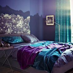 blue + purple bedroom