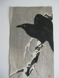 Antique 1920's Ohara Koson Japanese Woodblock Print Crow Raven Birds in Snow